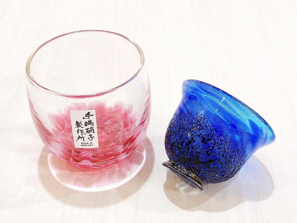 桜花たるグラス コバルトぐい呑 琉球ガラス やちむん 人気 オススメ 可愛い 通販 宮古島