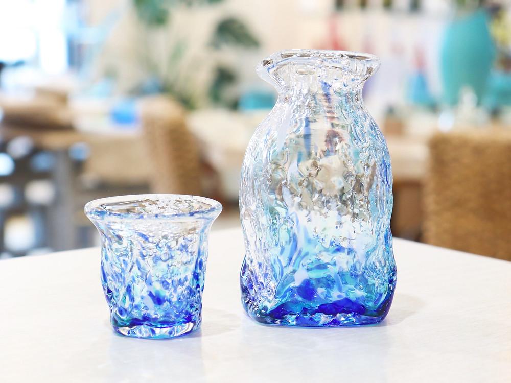 琉球ガラス 煌ブルーフォール徳利&ぐい呑 琉球ガラス やちむん 人気 かわいい おすすめ 沖縄 宮古島 通販 かっこいい おしゃれ