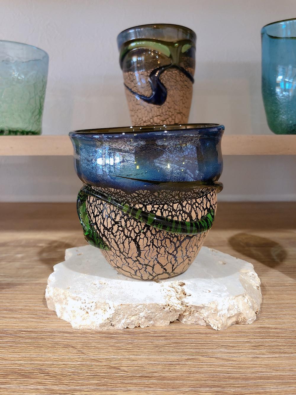 琉球ガラスの匠 稲嶺盛一郎作品入荷 土紋波巻オーロラグラス