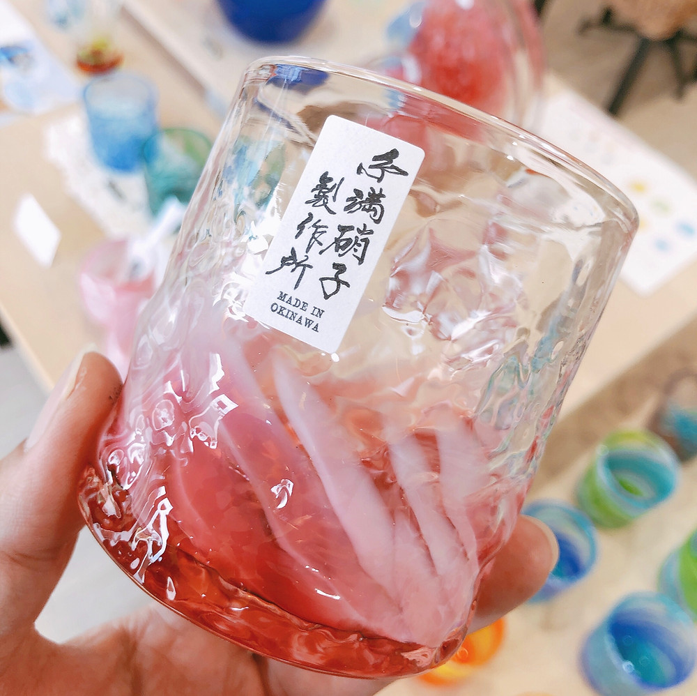琉球ガラス 桜花 でこぼこグラス