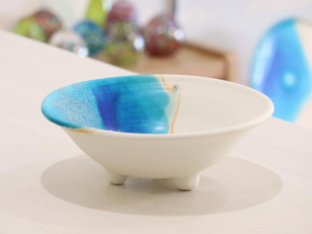 うるま陶器 やちむん 三つ足鉢(大) 宮古島 人気 かわいい おすすめ