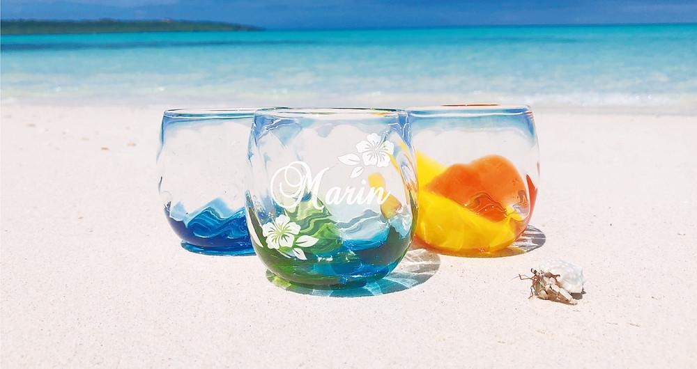 宮古島観光地 東洋No1ビーチで琉球ガラス撮影