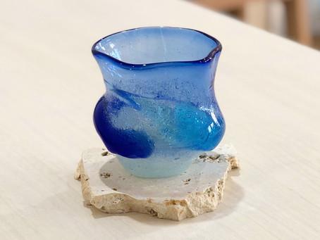 琉球ガラス 白泡二色グラス入荷致しました