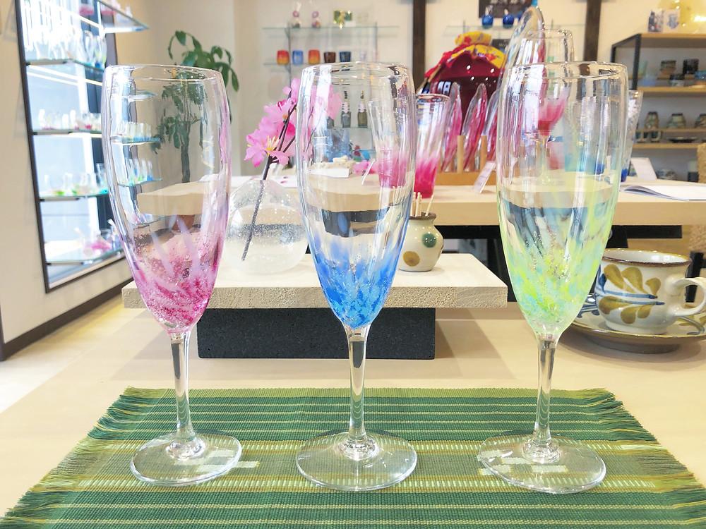 【琉球ガラス】糸満ガラス製作所 水中花シャンパングラス