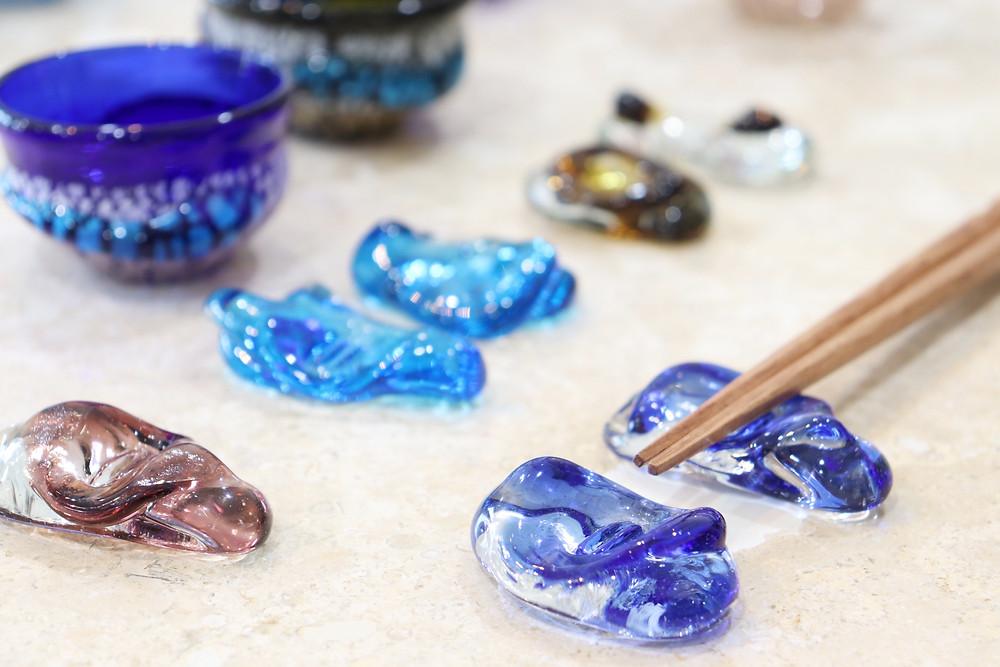 琉球ガラス箸置き 宙吹ガラス工房虹 宮古島 沖縄 かわいい 人気 おすすめ 通販 琉球ガラス やちむん
