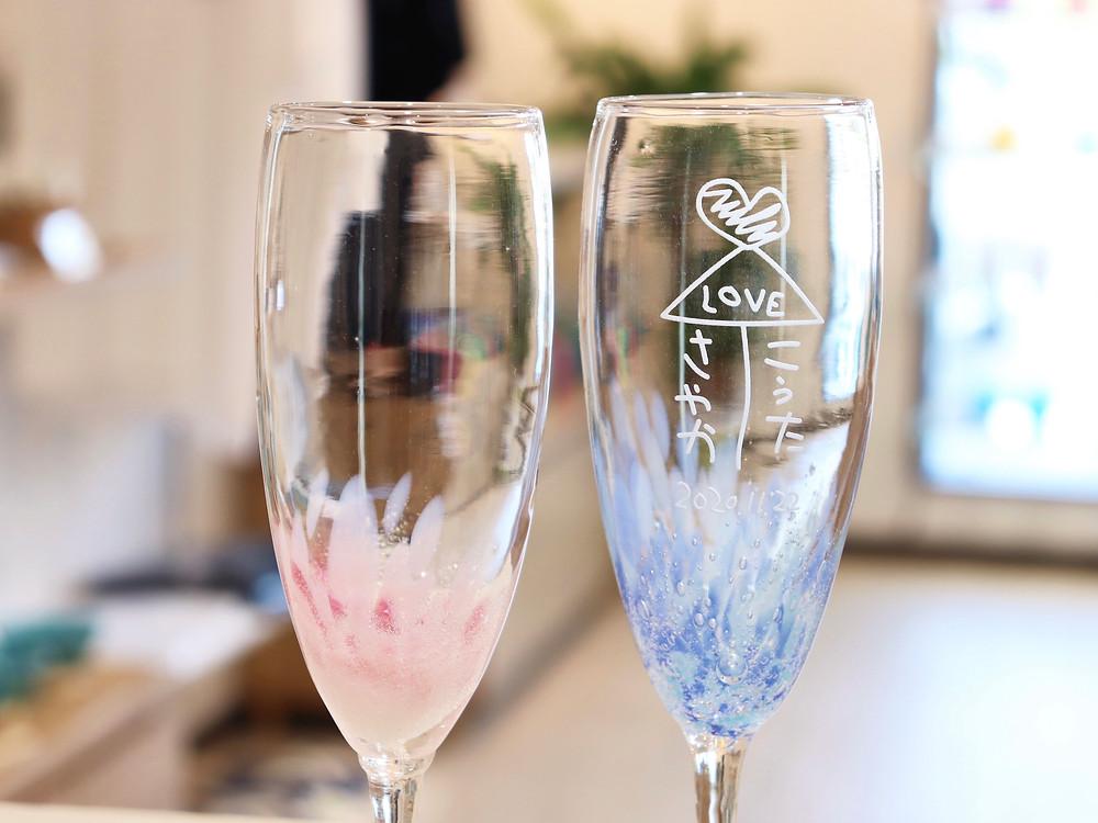 琉球ガラス 名入れシャンパングラス 宮古島 沖縄 かわいい 人気 おすすめ 通販 琉球ガラス やちむん