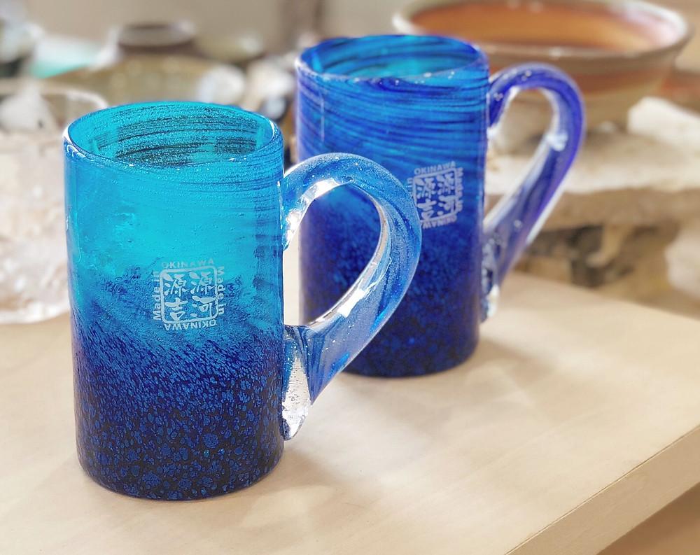 琉球ガラス 源河源吉 コバルトジョッキ