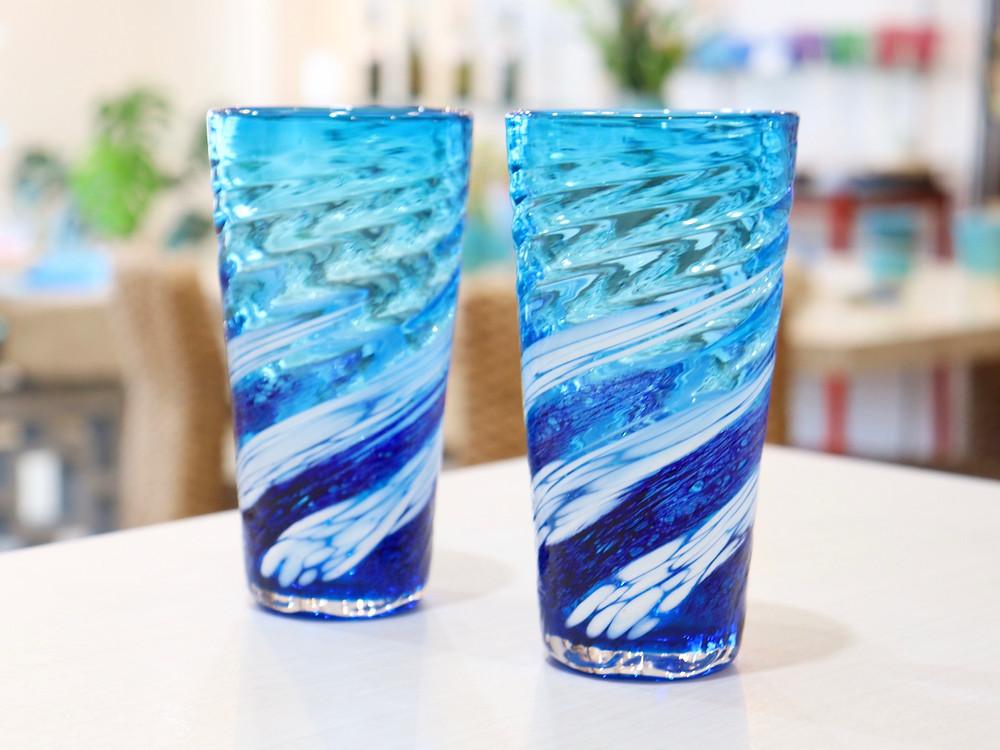 琉球ガラス 源河源吉 荒波コバルトロング 宮古島 琉球ガラス やちむん 人気 おすすめ かわいい