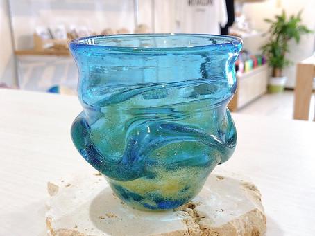 琉球ガラス 茶泡波巻宙吹グラス入荷致しました