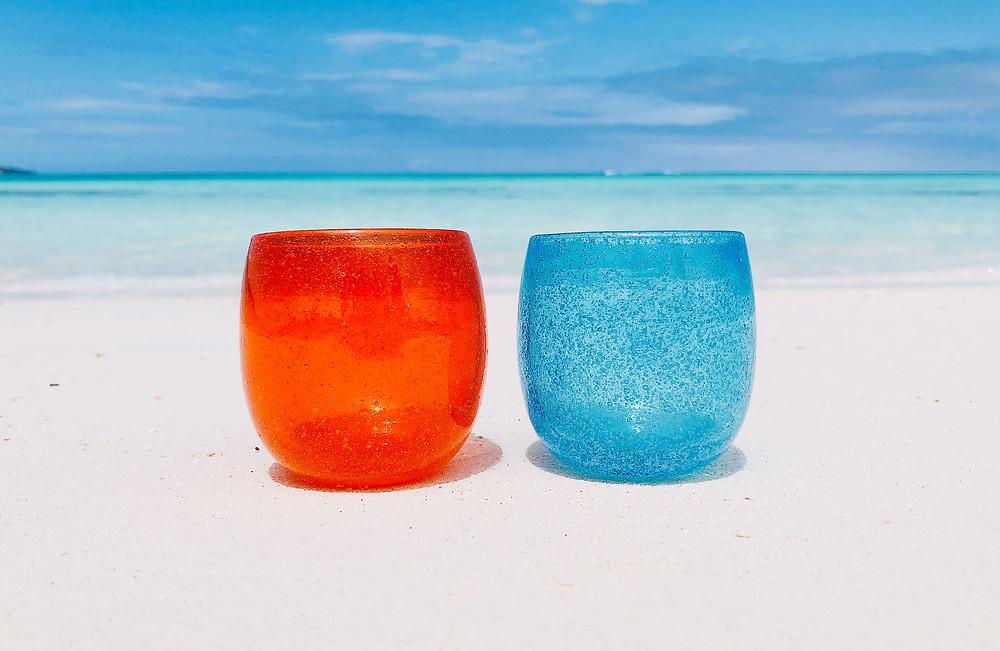 前浜ビーチで琉球ガラス撮影 宮古島
