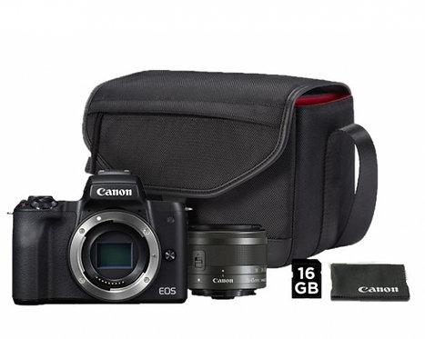CANON EOS M50 BLACK + EF-M 15-45 + BORSA + SD 16GB + PANNO - CANON ITALIA