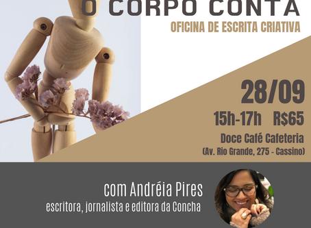 Oficina de escrita criativa com Andréia Pires em setembro