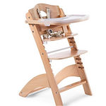 Childhome Lambda 3 Baby High Chair + Feeding Tray, Natural