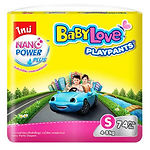 Babylove Playpants Baby Diapers, S, 74pcs