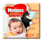 Huggies Gold Diaper, S, 72pcs