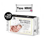 Applecrumby Chlorine Free Tape Diaper, NB, 80pcs