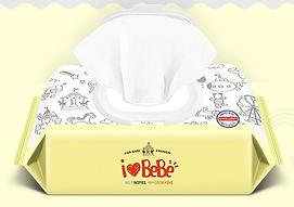 Ilovebebe Yellow Wet Wipes, Cap, 120s