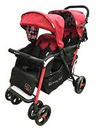 Lucky Baby City Dou Twin Stroller, Red
