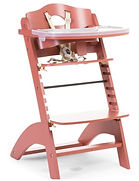 Childhome Lambda 3 Baby High Chair + Feeding Tray, Red Brick