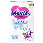 Merries Tape Diaper, L, 58pcs