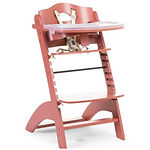 Childhome Lambda 3 Baby High Chair + Feeding Tray, Red Brick