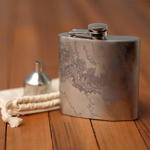 """Topographic Map Hip Flask """"Grand Canyon National Park"""""""