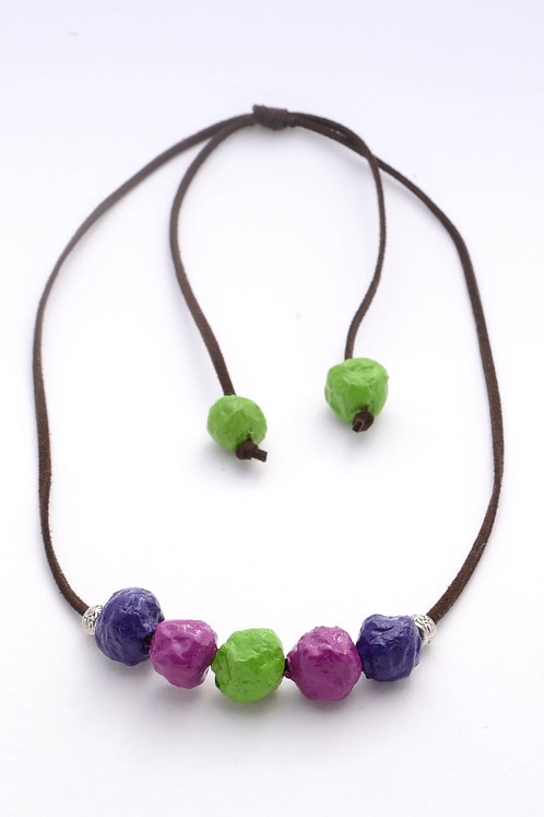 Purple Magenta Lime Beads Necklace