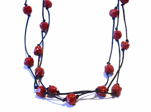 Red Beaded Paper Mache Necklace