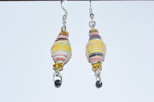 Yellow Paper Pearl Earrings