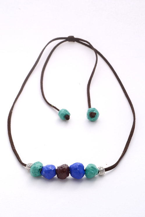 Blue Turquoise Brown Beads Necklace