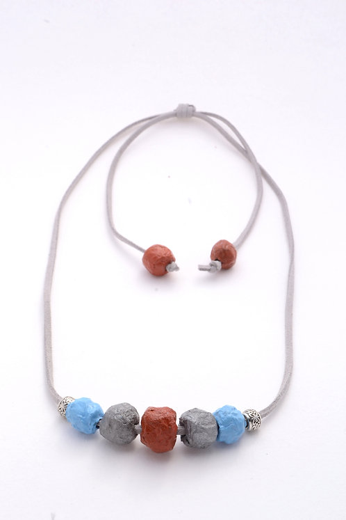 Blue Grey Maroon Beads Necklace