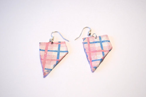 Plaid Pink Paper Mache Earrings