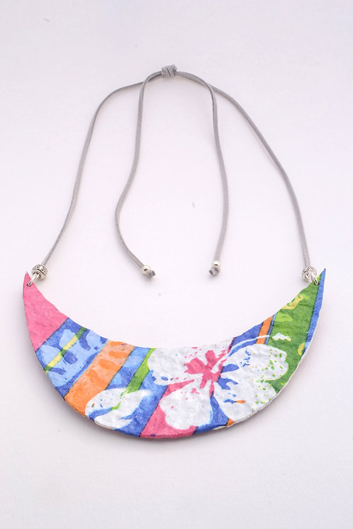 Crescent Double Sided Paper Mache Necklace