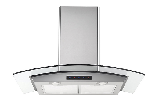 Stainless Steel Wall-Mounted Kitchen Range Hood with Tempered Glass Canopy and T