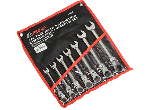 ATE Pro. USA 10942 Ratcheting Wrench, Flex Head, Metric, 10 mm -19 mm, 7 Piece S