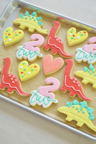 Heart and Dinosaur Birthday Cookies