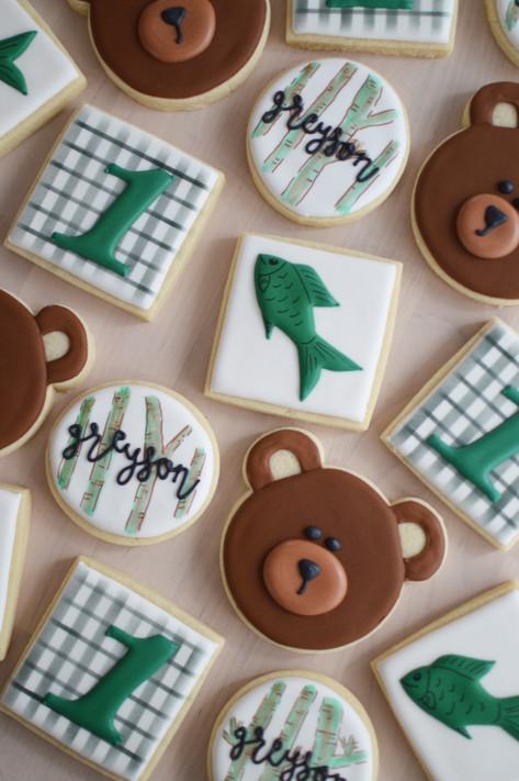 Fishing Woods Birthday Cookies