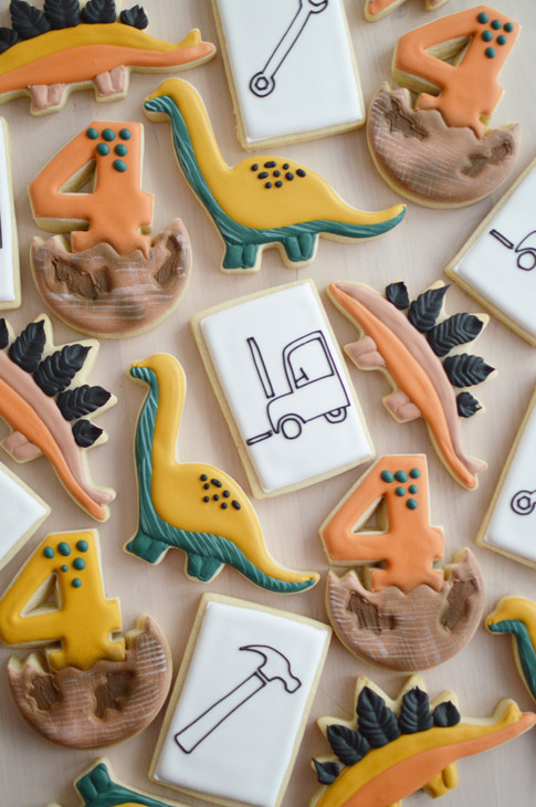 Dinosaur and Construction Birthday Cookies