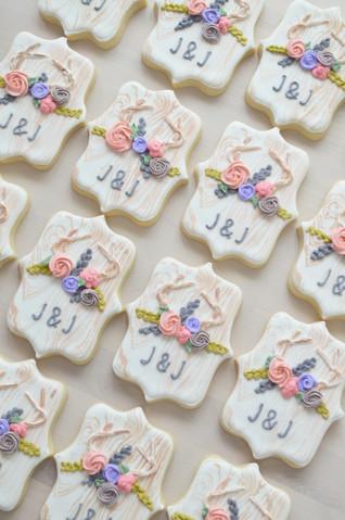 Antler Flower Crown Rustic Wedding Cookies