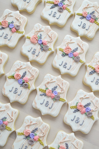 Antler Flower Crown Rustic Wedding Cookies