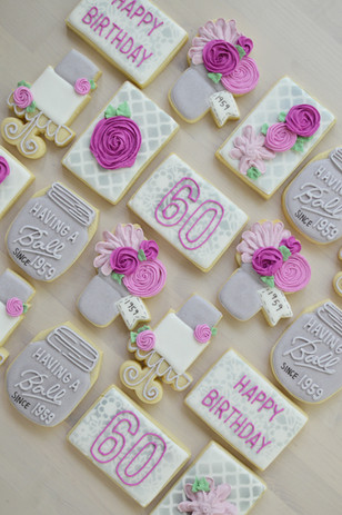60th Floral Birthday Cookies