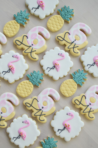Flamingo and Pineapple Dinosaur and Construction Birthday Cookies