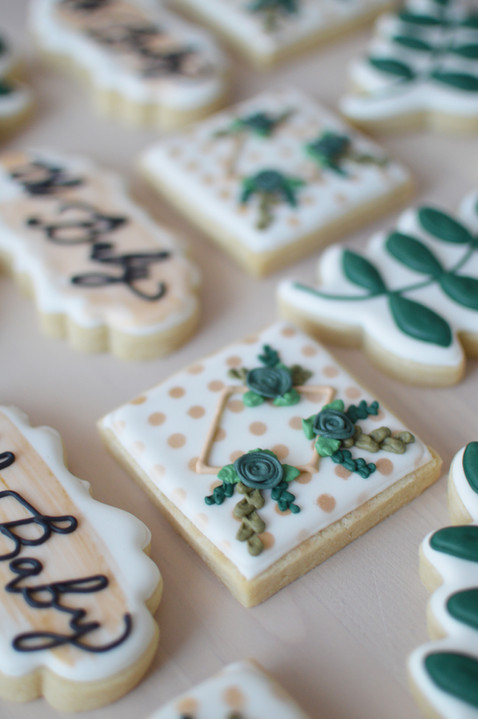 Boho Greenery Baby Shower Cookies