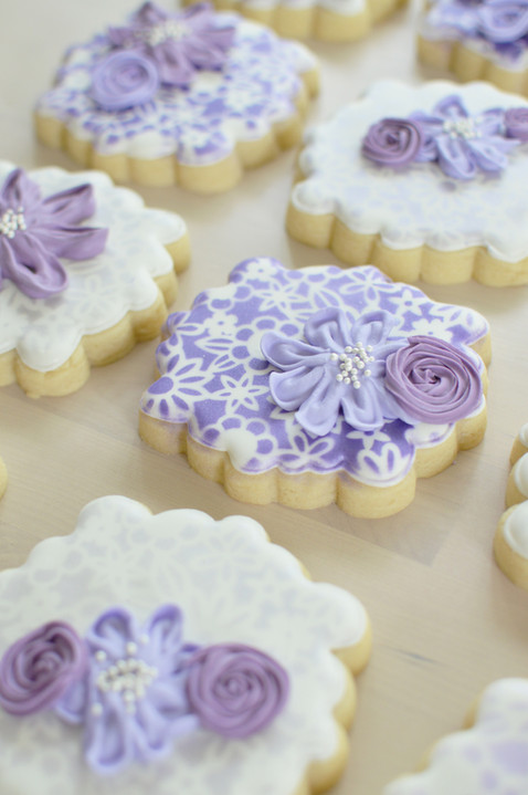 Purple Floral Baby Shower Cookies