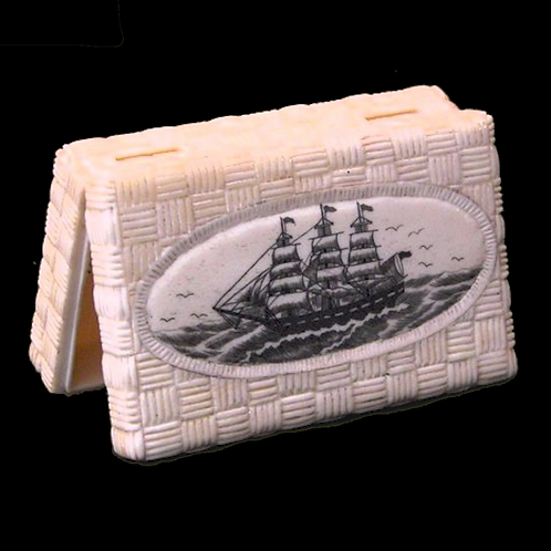 Scrimshaw Ship Bone Box