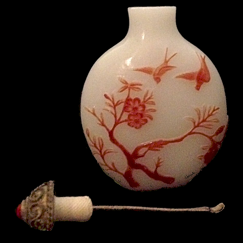 Japanese Opium Bottle Lacquer relief carved