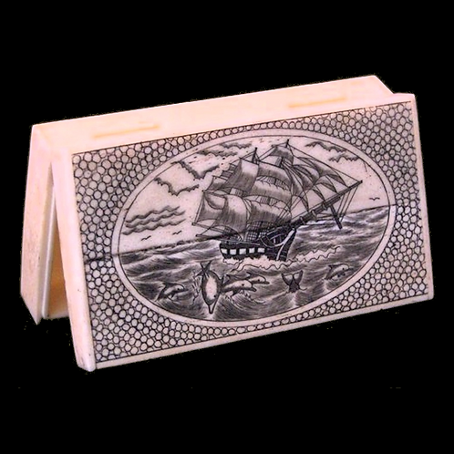 Scrimshaw Ship and Dolphin Box