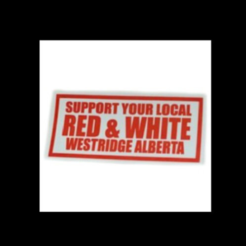 Local Red & White Rectangle Sticker