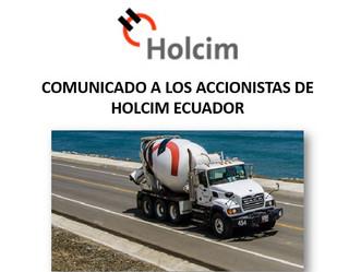 COMUNICADO A LOS ACCIONISTAS DE HOLCIM ECUADOR