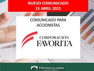 CORPORACIÓN FAVORITA: COMUNICADO PARA ACCIONISTAS